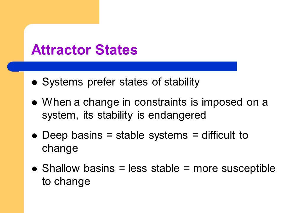 Attractor States Systems prefer states of stability