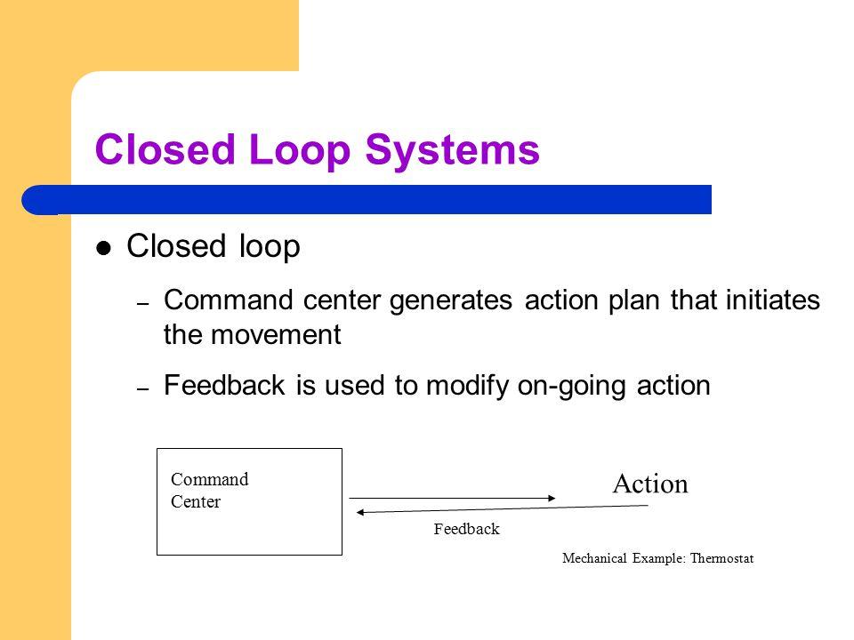 Closed Loop Systems Closed loop