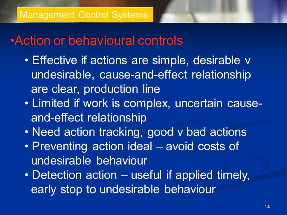 Action or behavioural controls