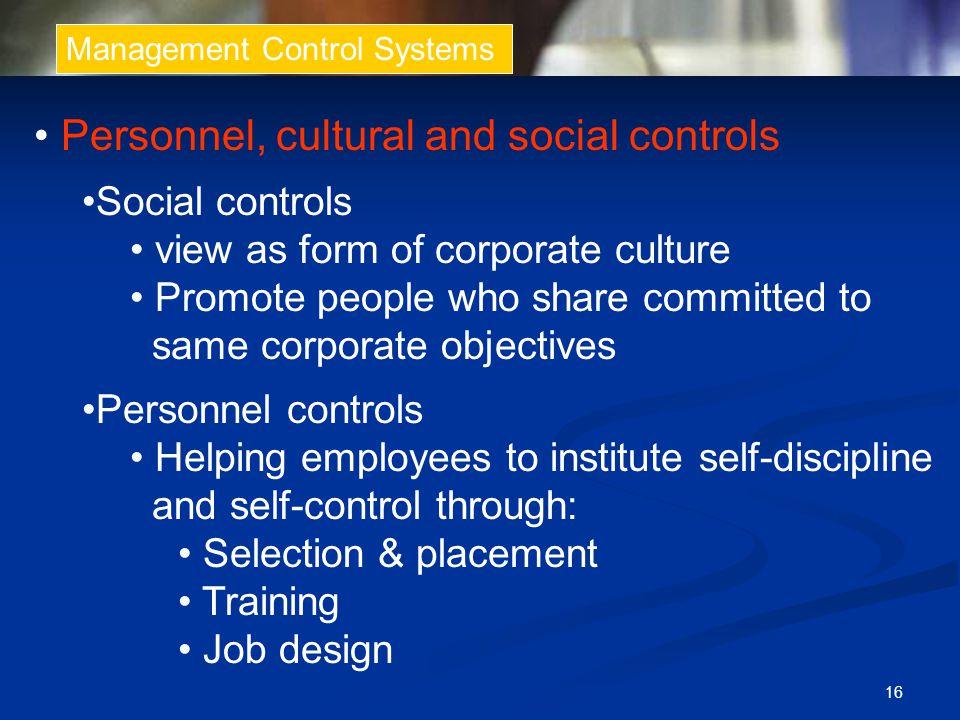 • Personnel, cultural and social controls