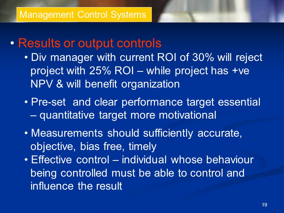 • Results or output controls