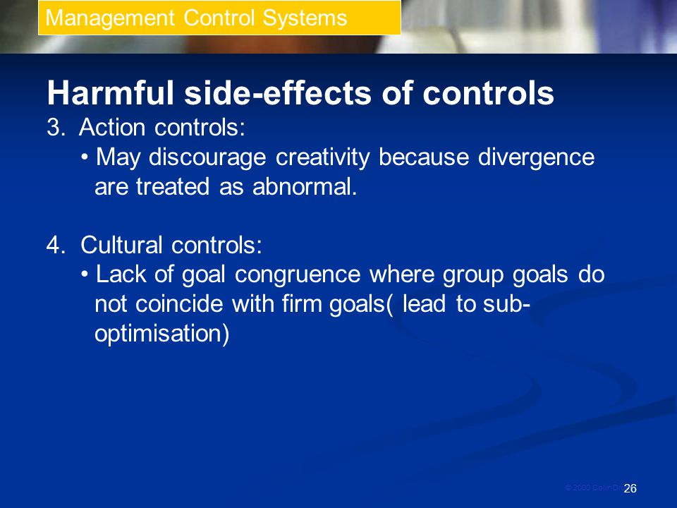 Harmful side-effects of controls