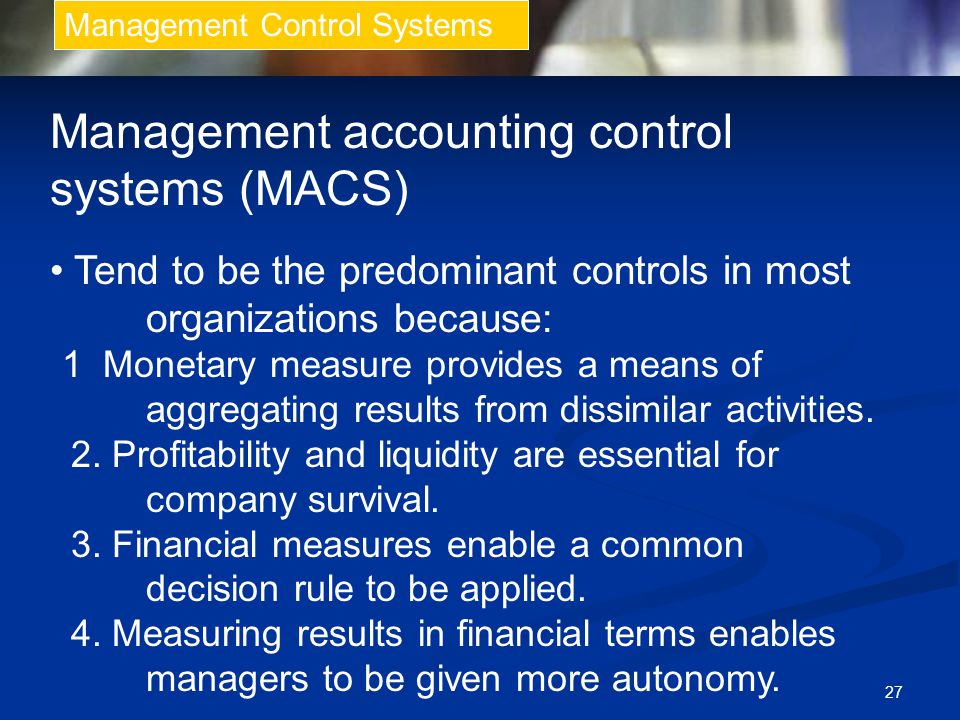 Management accounting control systems (MACS)