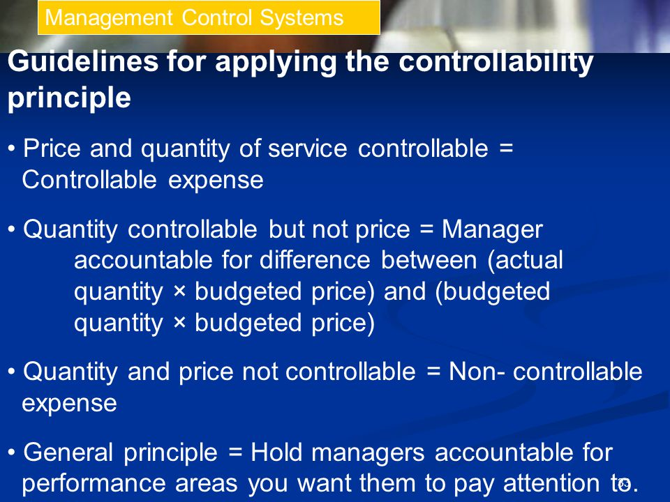 Guidelines for applying the controllability principle