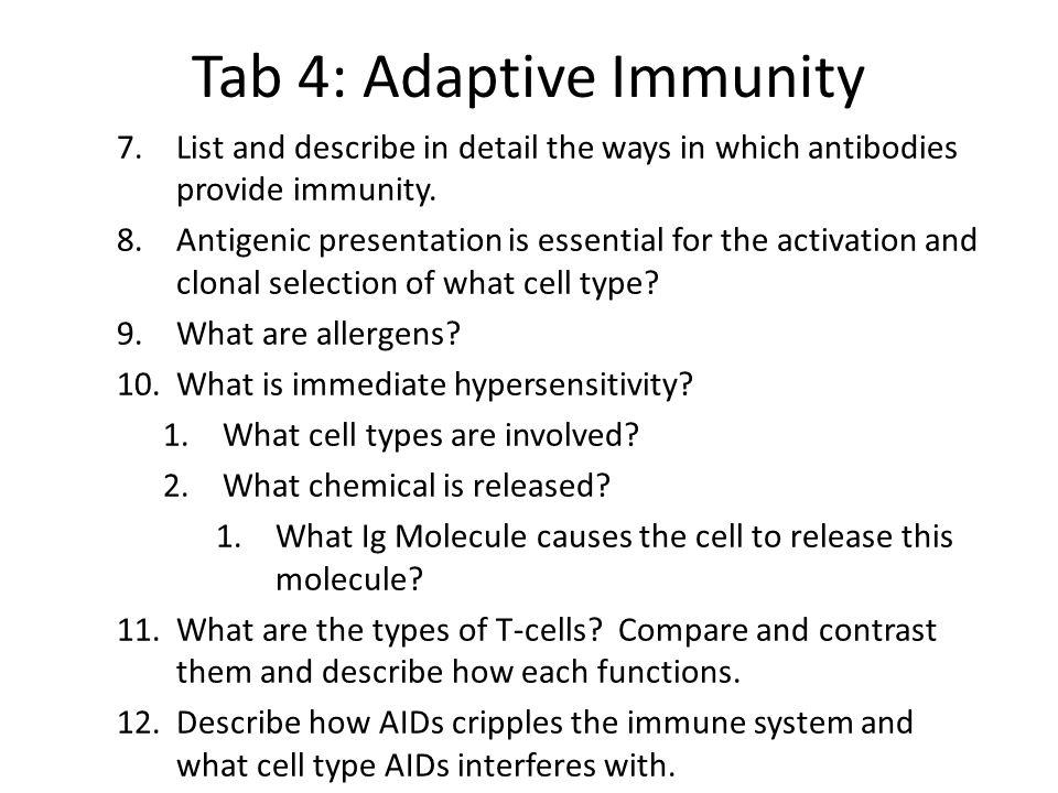 Tab 4: Adaptive Immunity