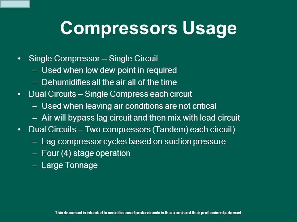 Compressors Usage Single Compressor -- Single Circuit