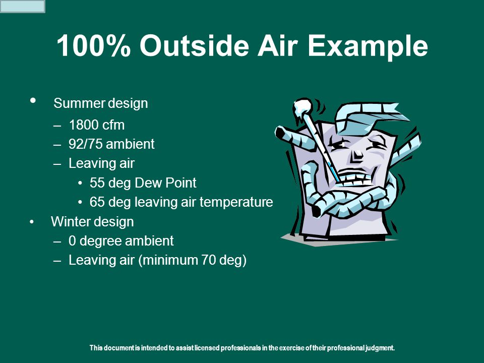 100% Outside Air Example Summer design 1800 cfm 92/75 ambient
