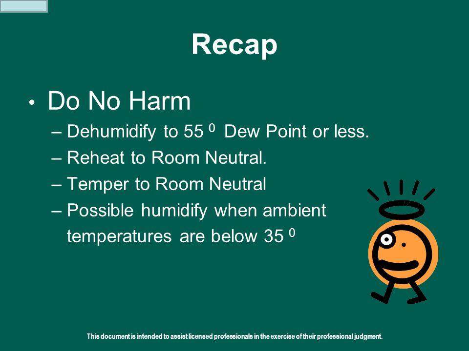 Recap Do No Harm Dehumidify to 55 0 Dew Point or less.