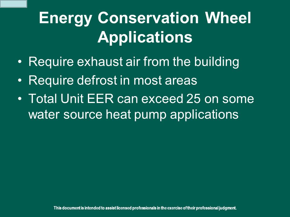 Energy Conservation Wheel Applications