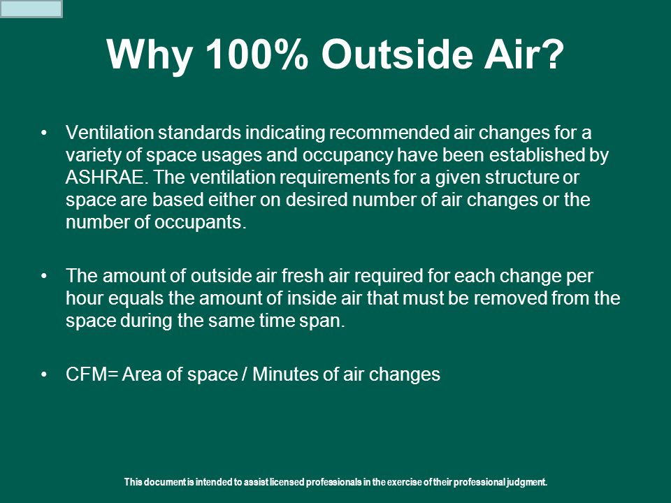 Why 100% Outside Air
