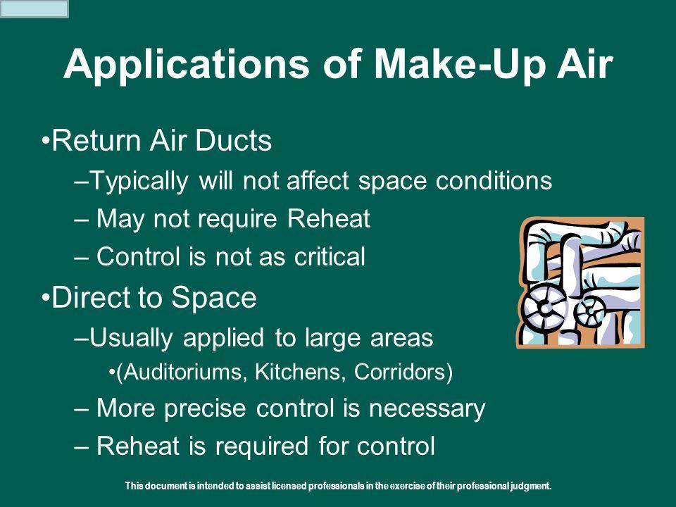Applications of Make-Up Air