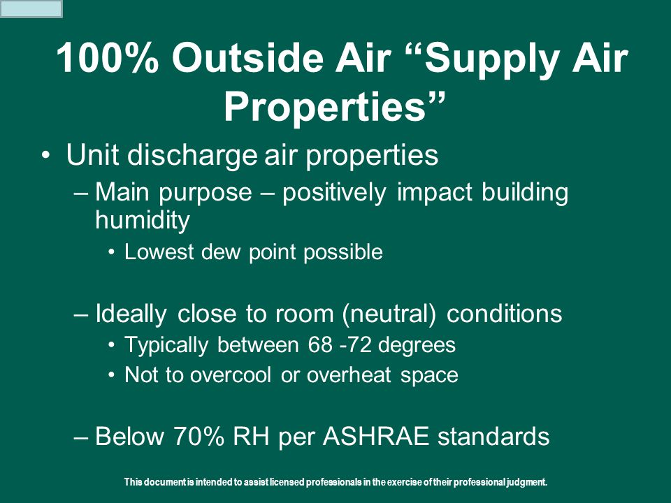 100% Outside Air Supply Air Properties