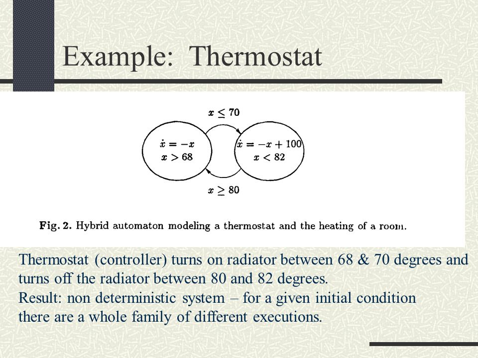 Example: Thermostat Thermostat (controller) turns on radiator between 68 & 70 degrees and. turns off the radiator between 80 and 82 degrees.