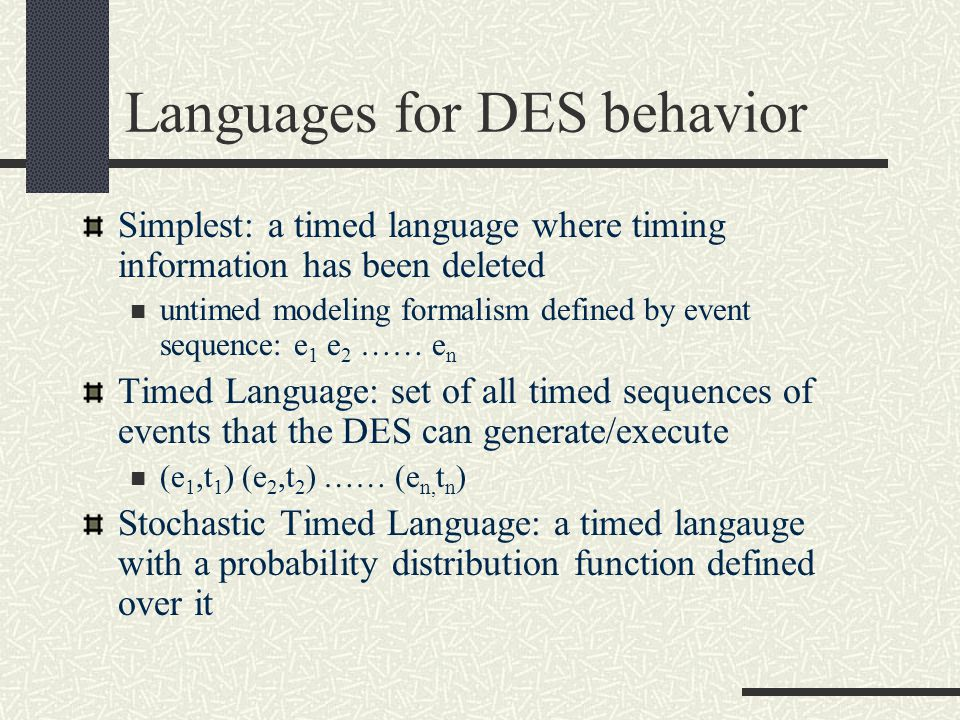 Languages for DES behavior