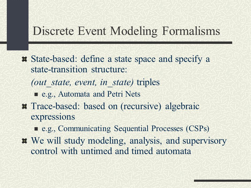Discrete Event Modeling Formalisms