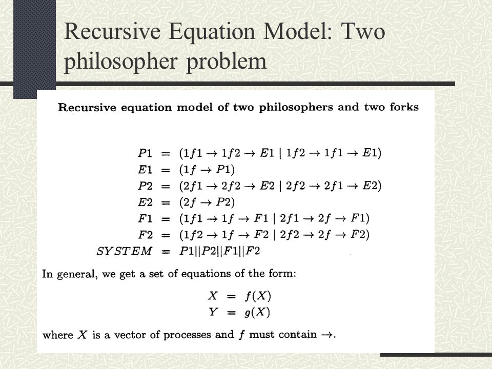 Recursive Equation Model: Two philosopher problem