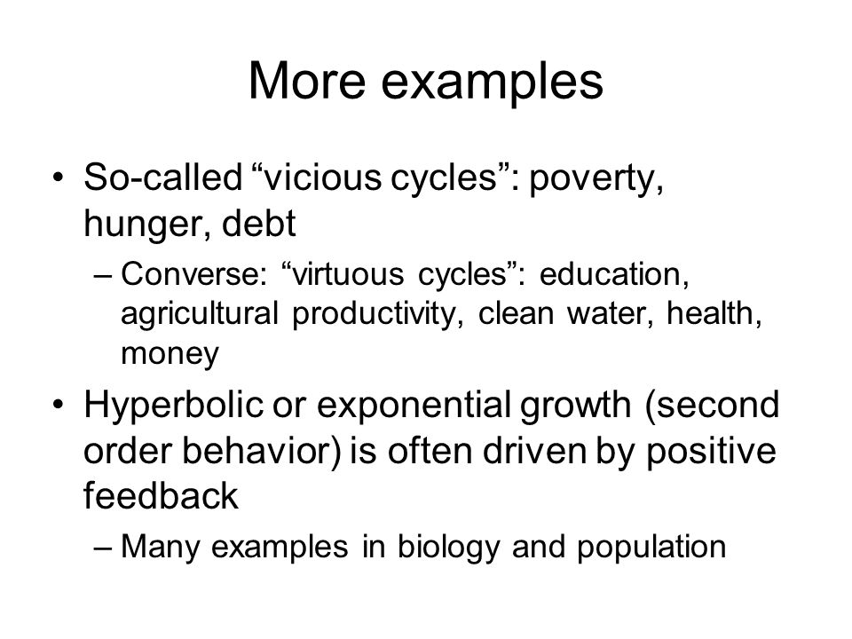 More examples So-called vicious cycles : poverty, hunger, debt