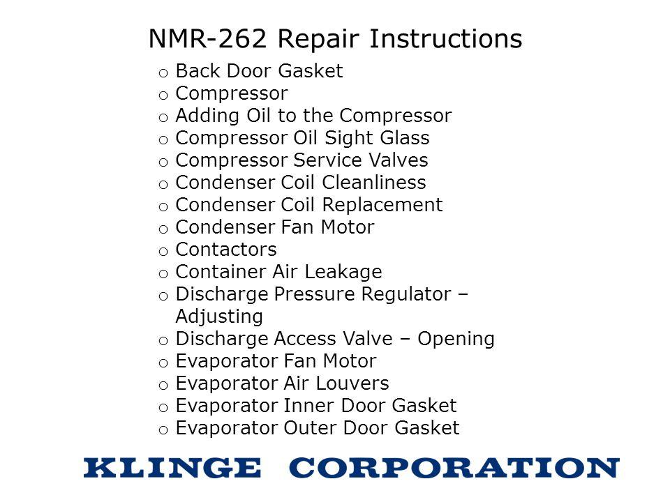 NMR-262 Repair Instructions