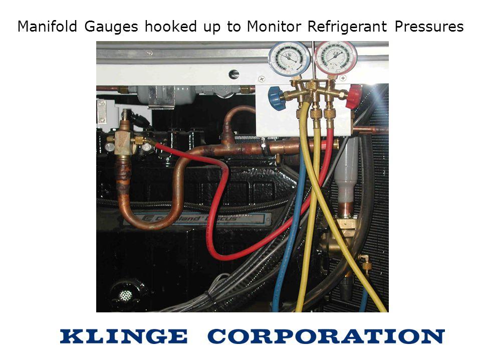 Manifold Gauges hooked up to Monitor Refrigerant Pressures