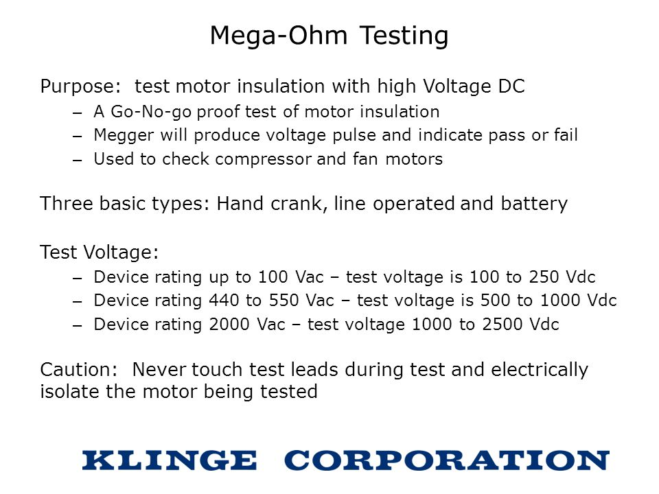 Mega-Ohm Testing Purpose: test motor insulation with high Voltage DC
