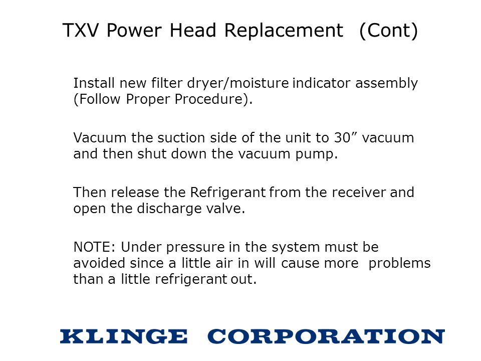 TXV Power Head Replacement (Cont)