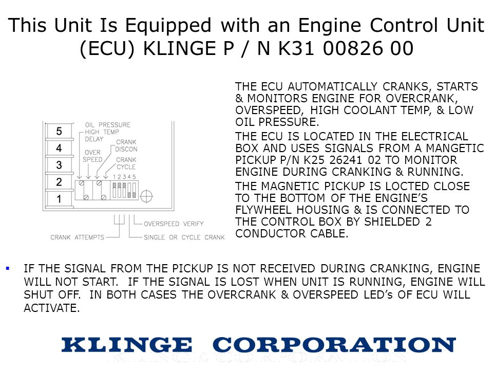 This Unit Is Equipped with an Engine Control Unit (ECU) KLINGE P / N K31 00826 00