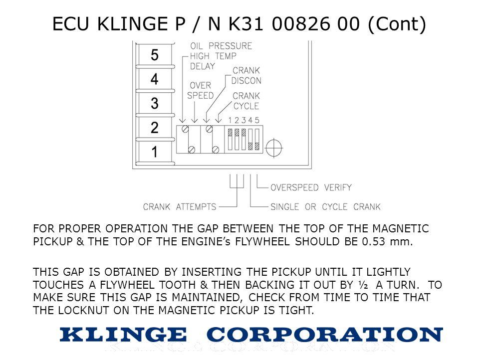 ECU KLINGE P / N K31 00826 00 (Cont)