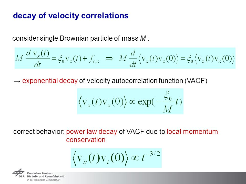 decay of velocity correlations