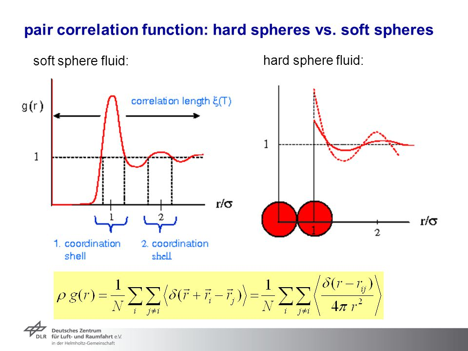 pair correlation function: hard spheres vs. soft spheres
