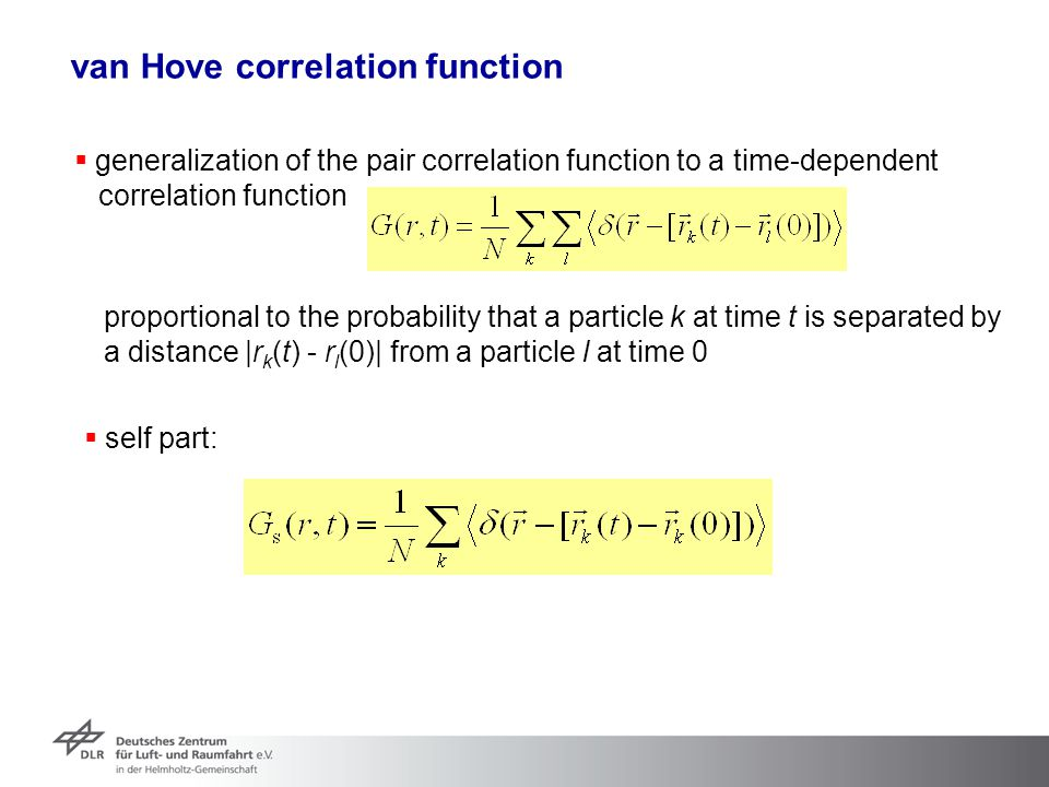 van Hove correlation function