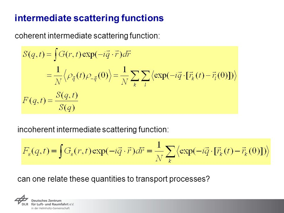 intermediate scattering functions