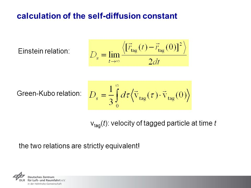 calculation of the self-diffusion constant