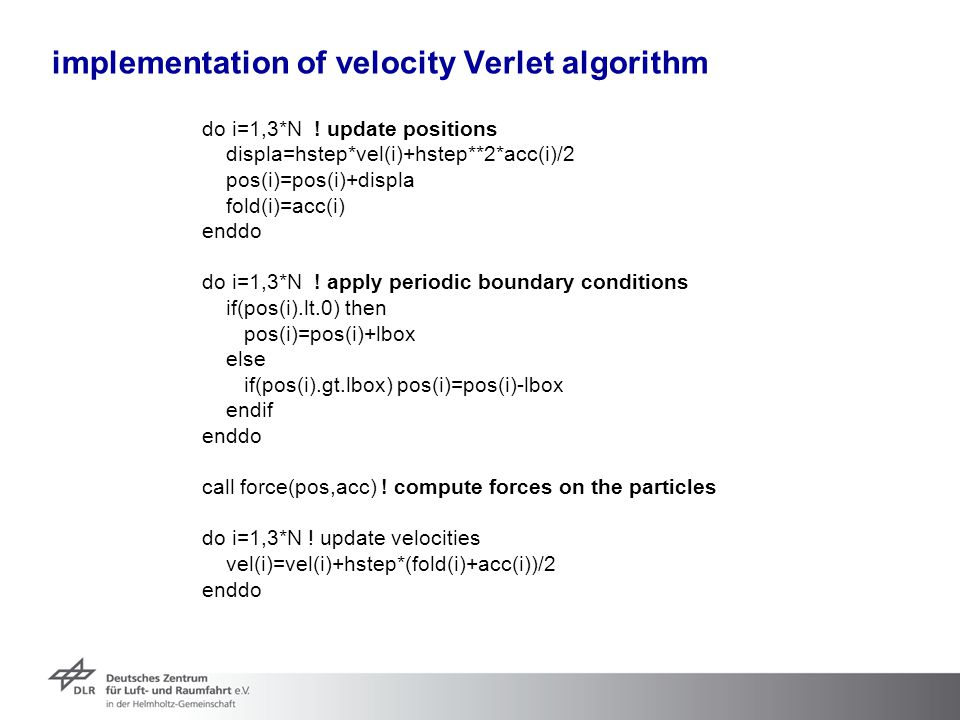implementation of velocity Verlet algorithm
