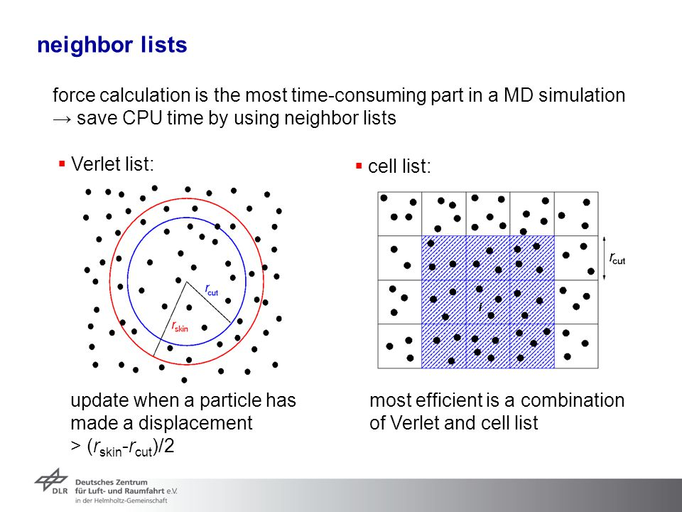 neighbor lists force calculation is the most time-consuming part in a MD simulation. → save CPU time by using neighbor lists.