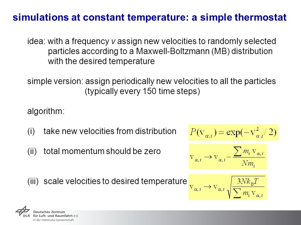 simulations at constant temperature: a simple thermostat