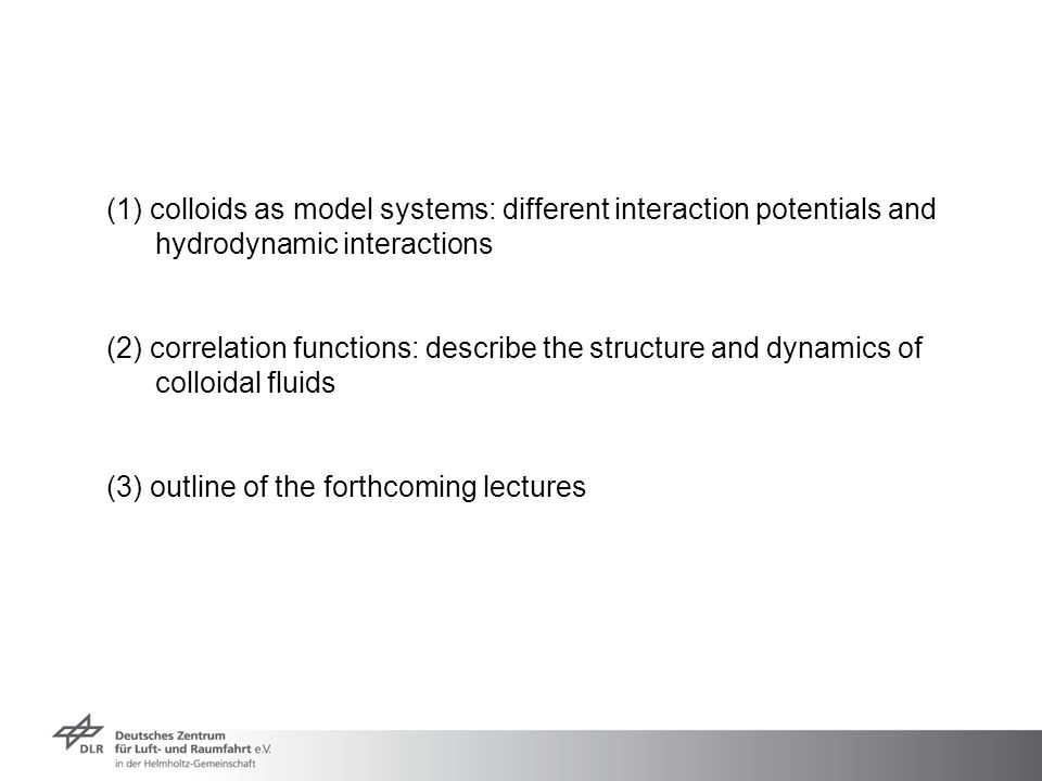(1) colloids as model systems: different interaction potentials and