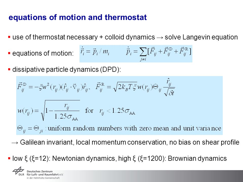 equations of motion and thermostat