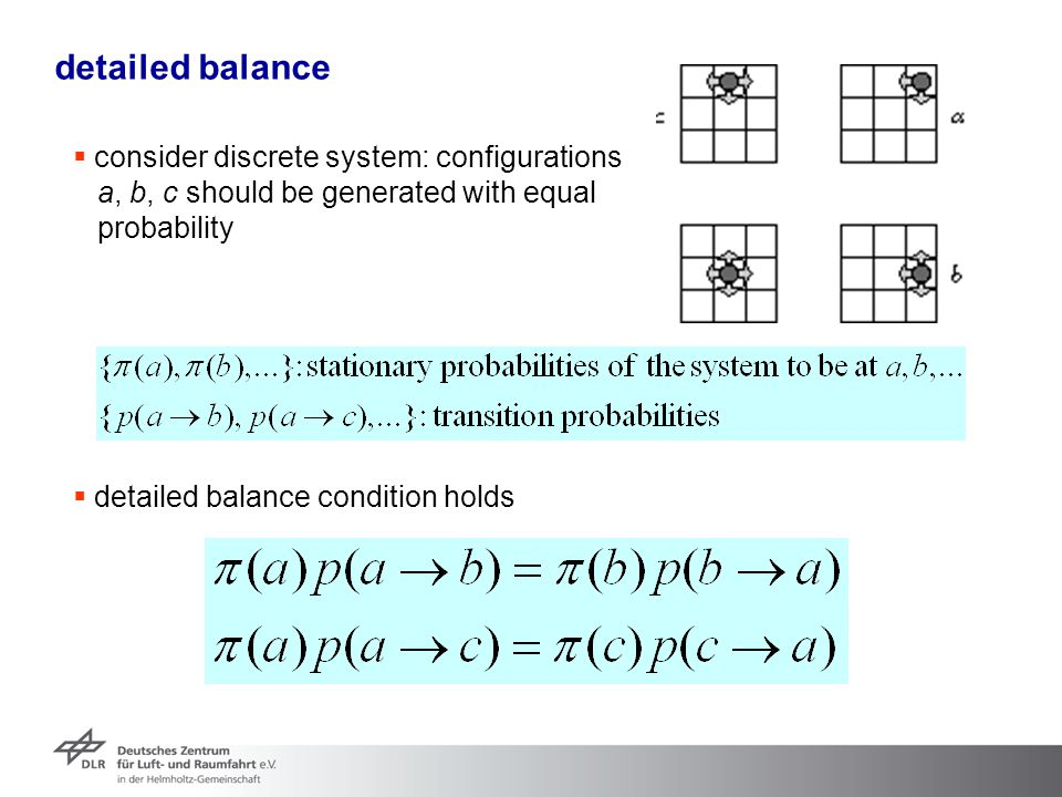 detailed balance consider discrete system: configurations