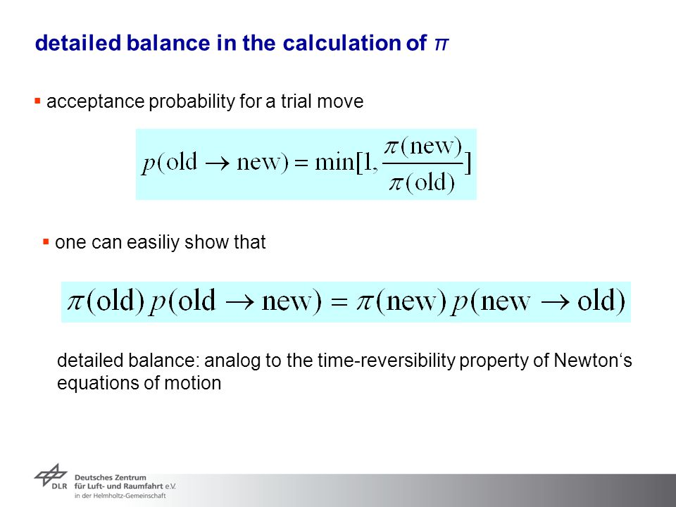 detailed balance in the calculation of π