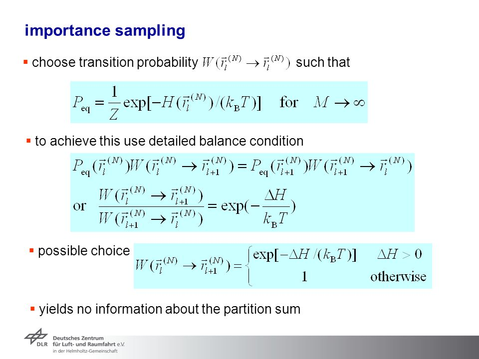importance sampling choose transition probability such that
