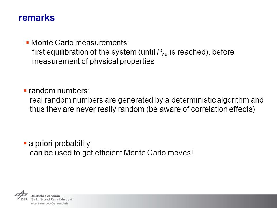 remarks Monte Carlo measurements: