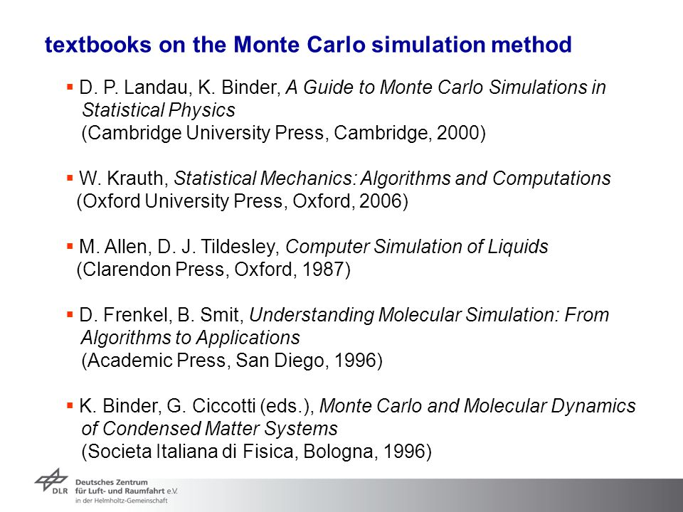 textbooks on the Monte Carlo simulation method