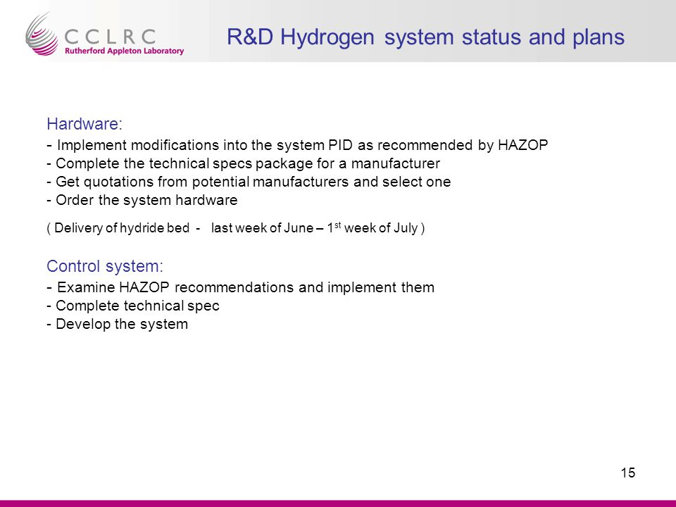 R&D Hydrogen system status and plans