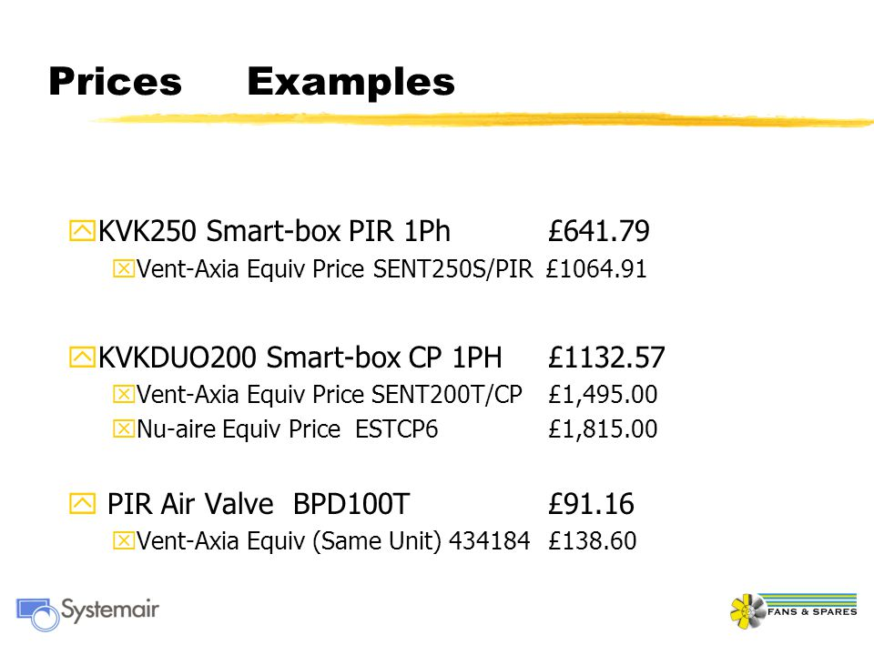 Prices Examples KVK250 Smart-box PIR 1Ph £641.79