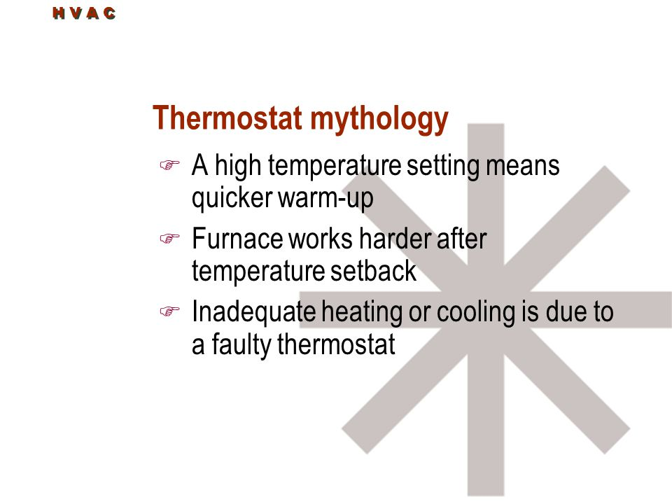 Thermostat mythology A high temperature setting means quicker warm-up