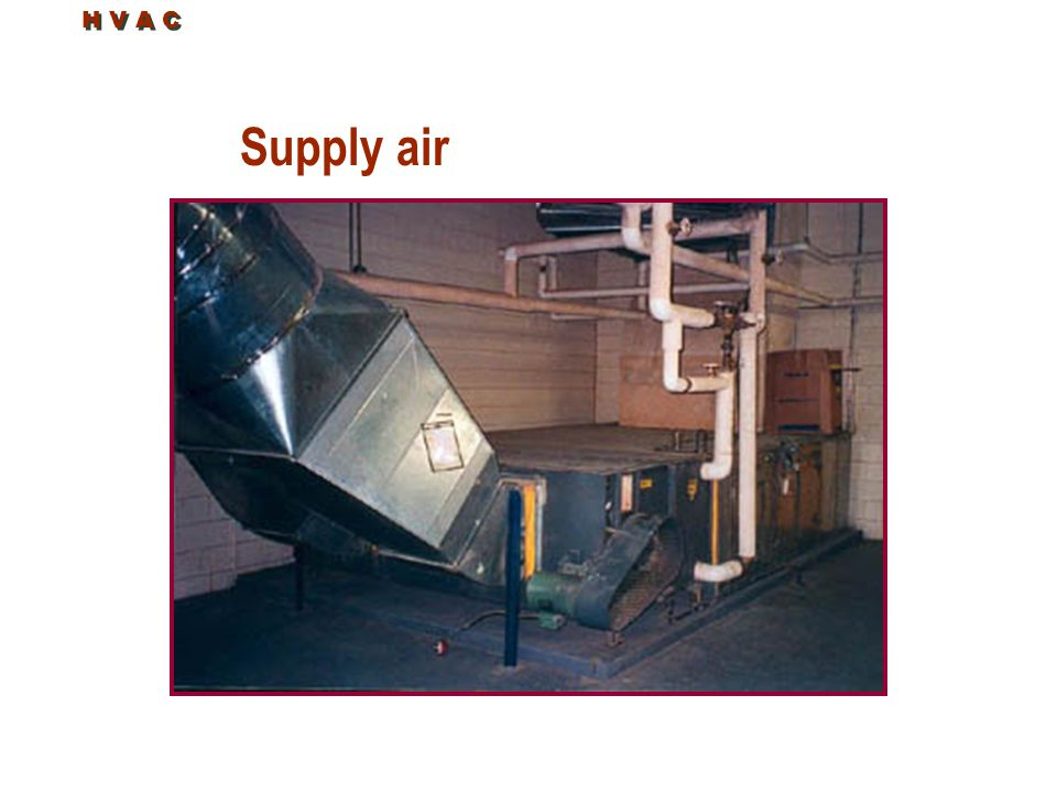 H V A C Supply air Supply air side of the air handler