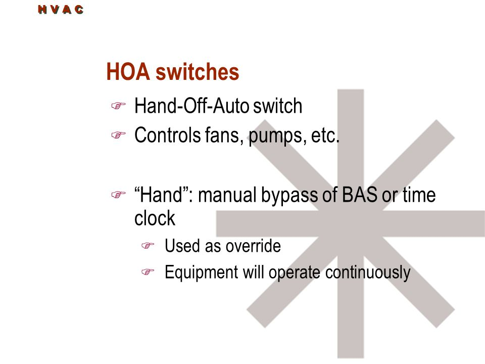 HOA switches Hand-Off-Auto switch Controls fans, pumps, etc.