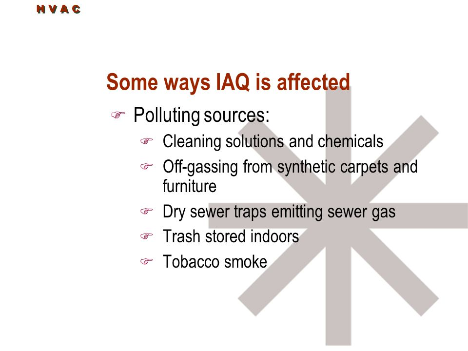 Some ways IAQ is affected