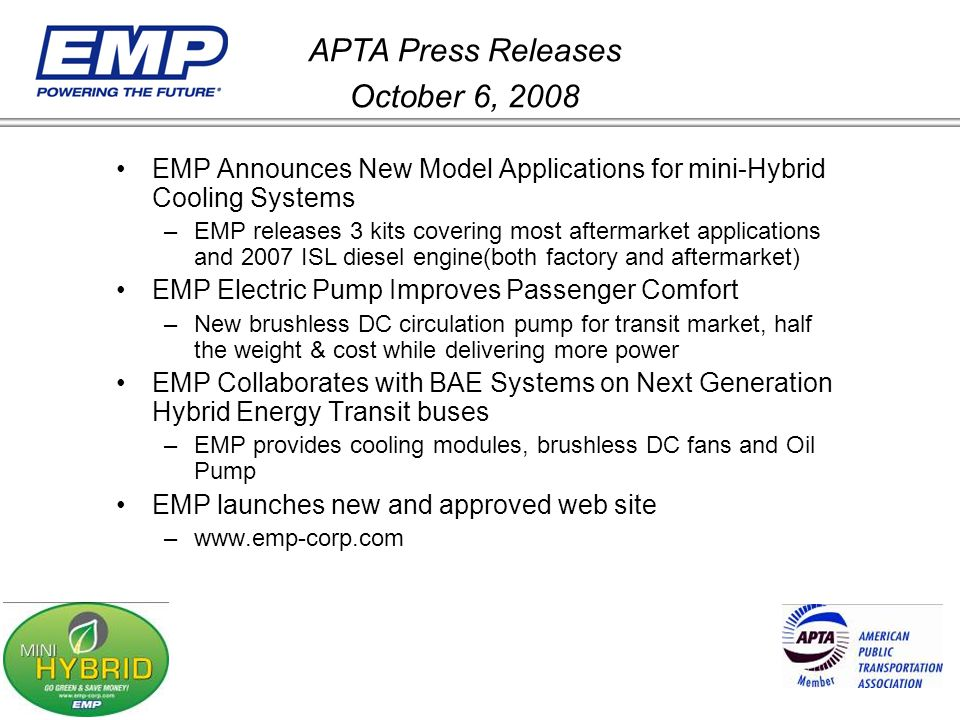 APTA Press Releases October 6, 2008