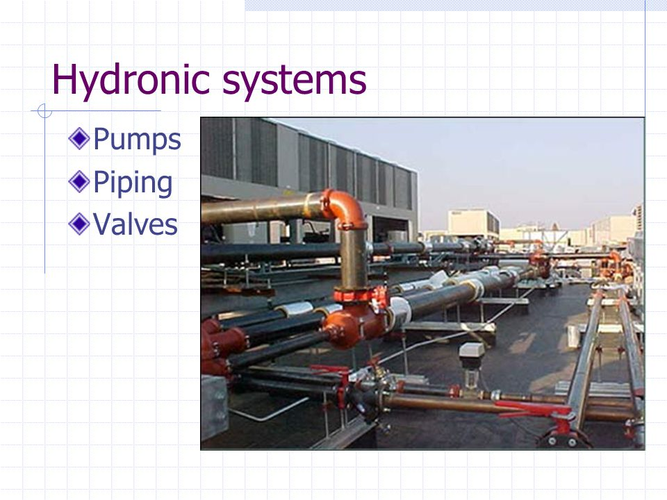 Hydronic systems Pumps Piping Valves
